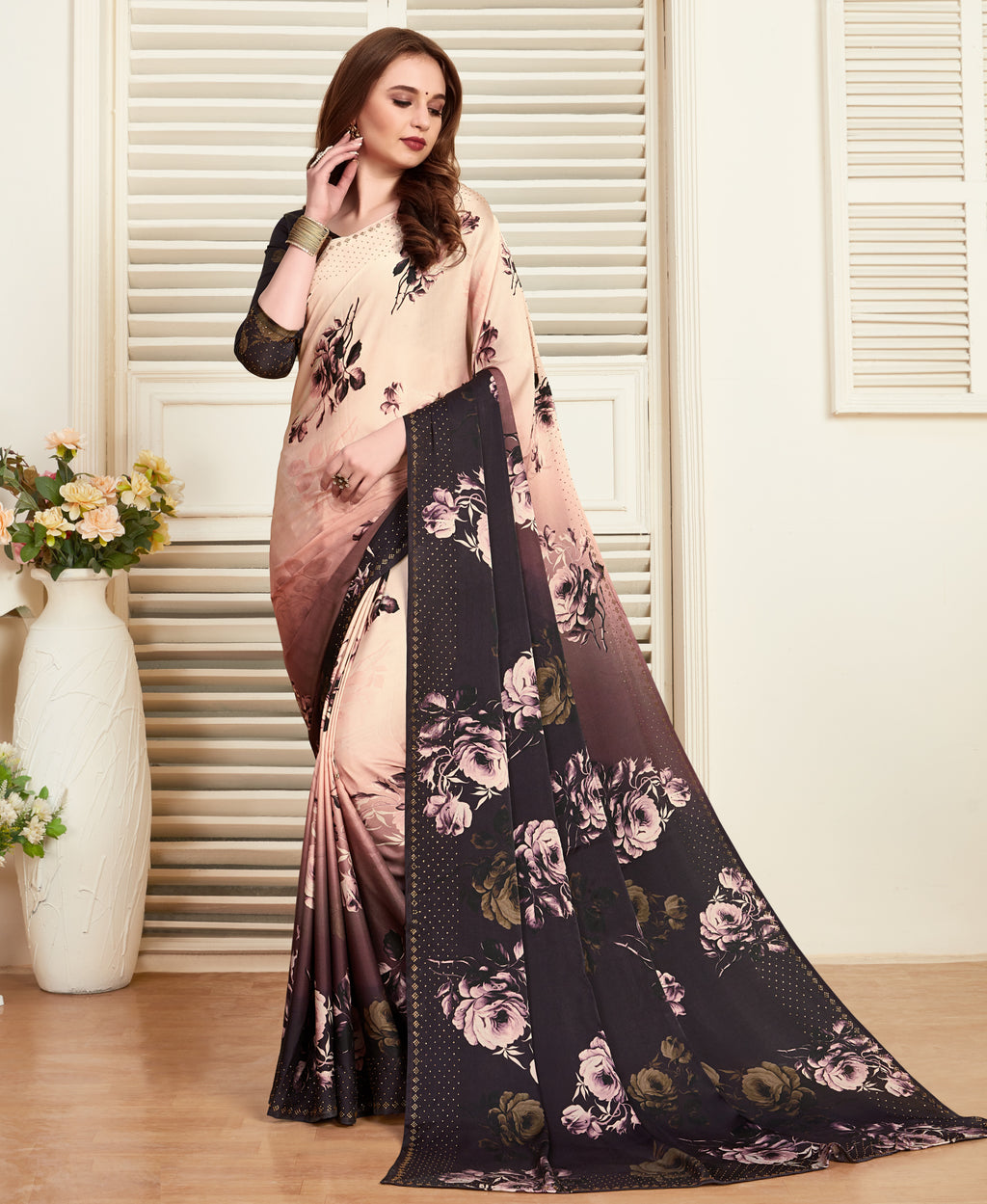 Baby Pink Color Crepe Silk Printed Office Party Sarees NYF-6151