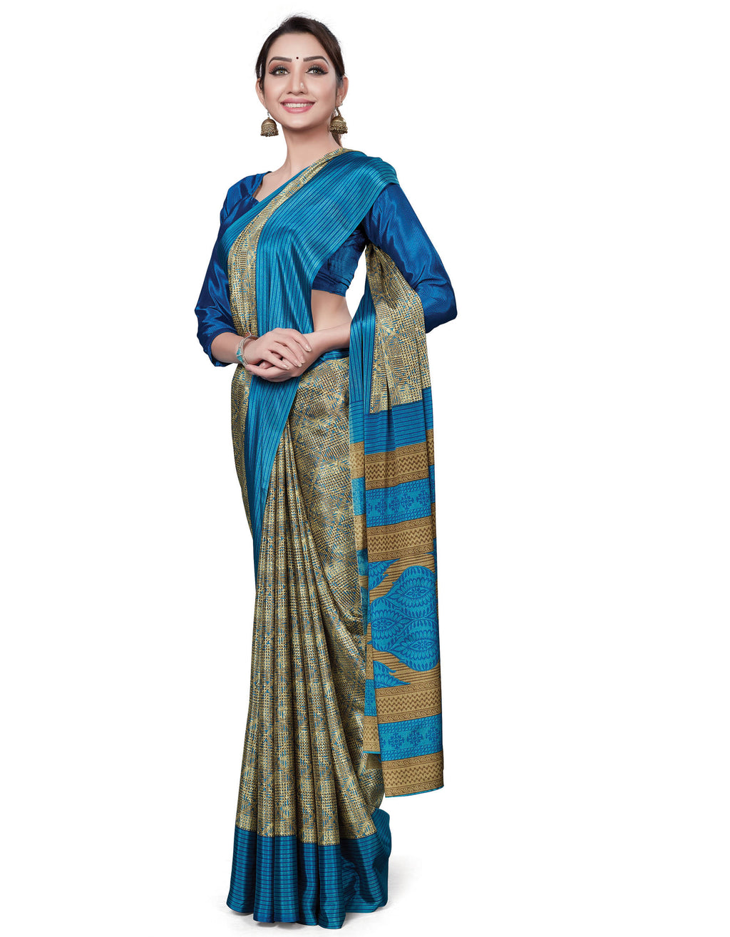 Multi Color Italian Crepe Printed Office Wear Sarees NYF-7692