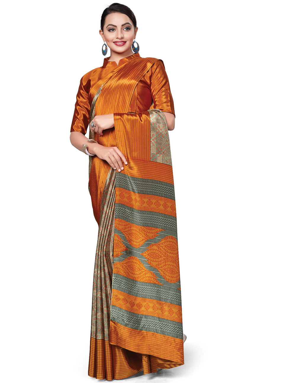 Multi Color Italian Crepe Printed Office Wear Sarees NYF-7693