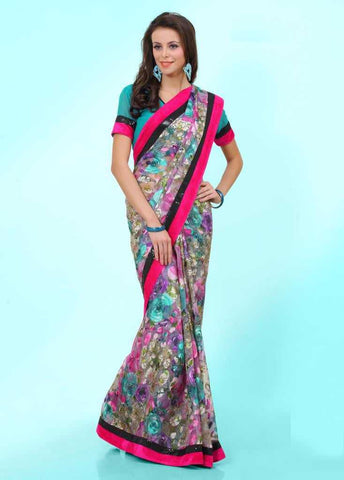 Blue and Pink  Colour  Brasso  Material Sarees : Italiano Collection -  YF-14913