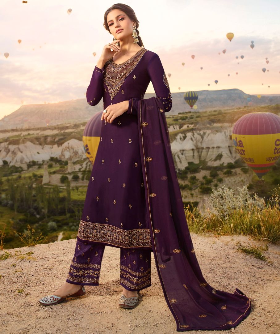 Purple Color Satin Georgette Festive Semi Stitched Dress NYF-4081 - YellowFashion.in