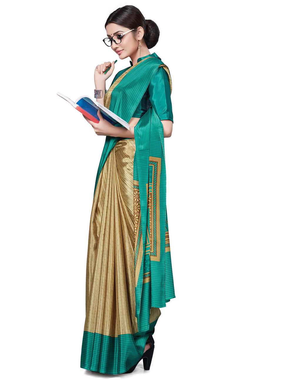 Light Coffee & Green Color Italian Crepe Printed Office Wear Sarees NYF-7694