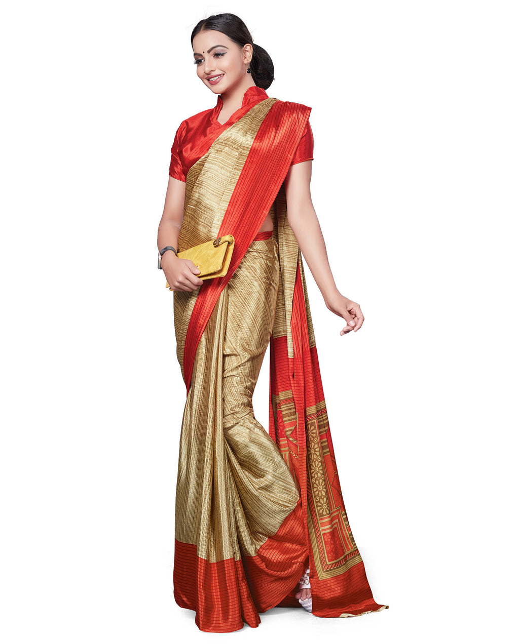 Light Coffee & Orange Color Italian Crepe Printed Office Wear Sarees NYF-7695