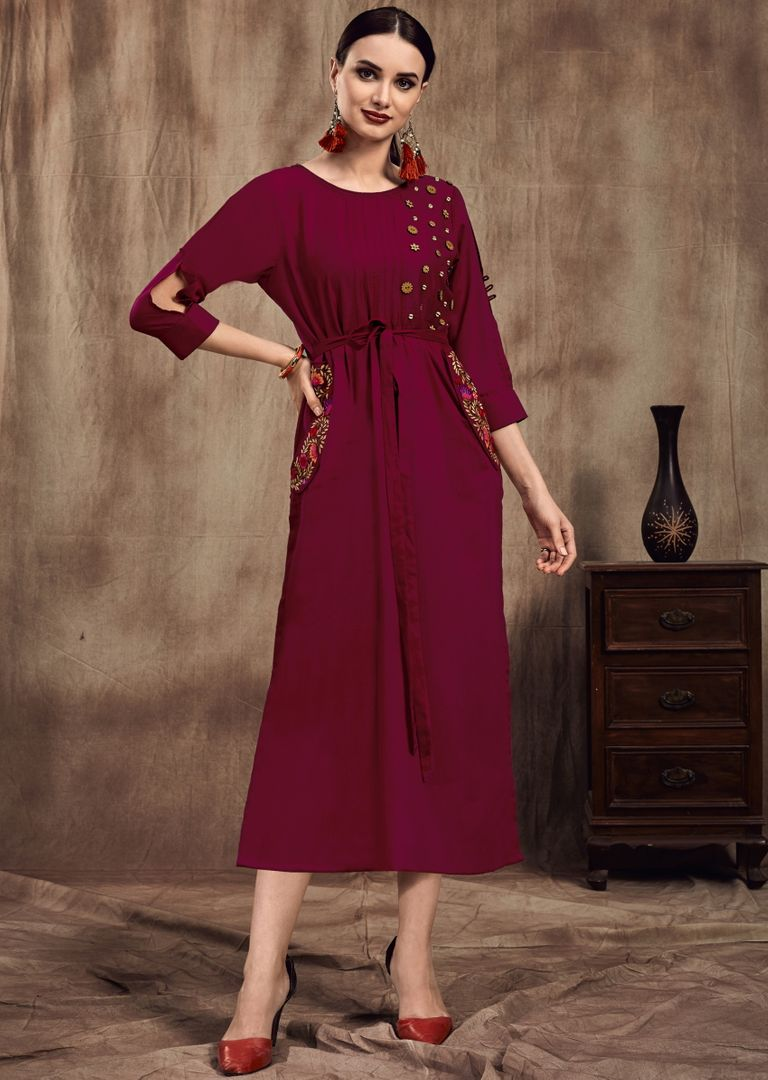 Magenta Color Muslin Trendy Party Wear Kurtis NYF-4863