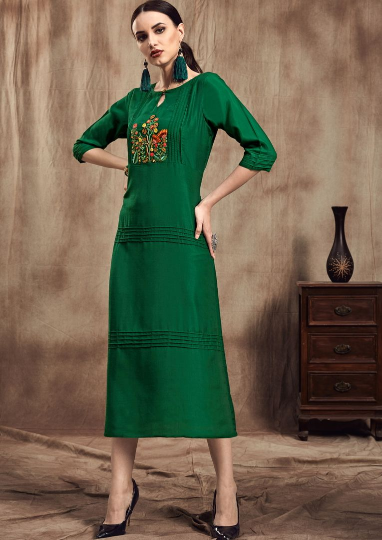 Green Color Muslin Trendy Party Wear Kurtis NYF-4866