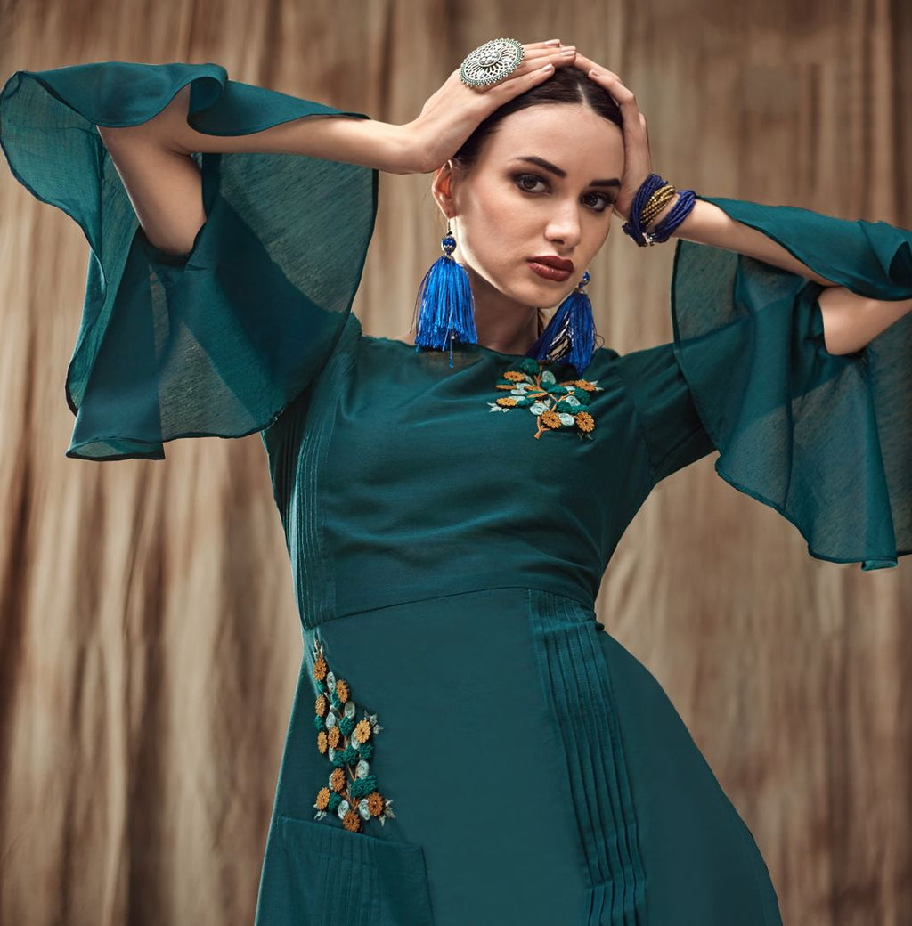Rama Green Color Muslin Trendy Party Wear Kurtis NYF-4872