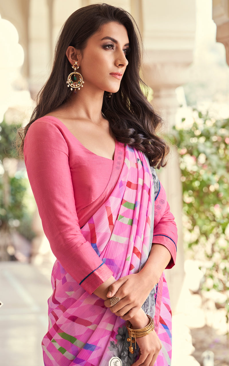 Pink and Grey Color Georgette Casual Wear Saree -   Iksha  Collection  YF#11403