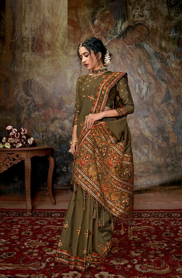 Dusty Color Cotton Silk Traditional Wear Saree Aakarsh Collection   YF#11701