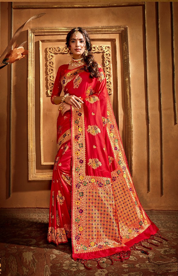 Red Color Art SilkTraditional Wear Saree Nikhita collectionYF#11739