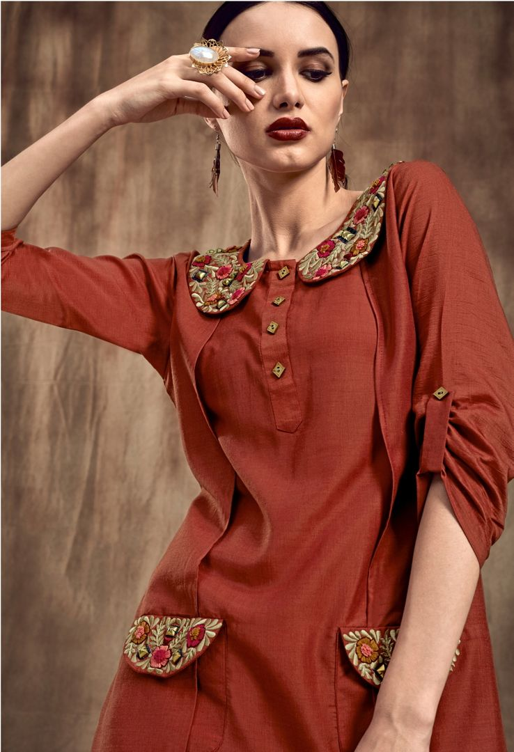 Rust Brown Color Muslin Trendy Party Wear Kurtis NYF-4875