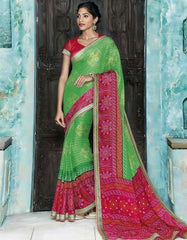 Green and Pink Color Georgette Designer Sarees : Sundrika Collection  YF-43639