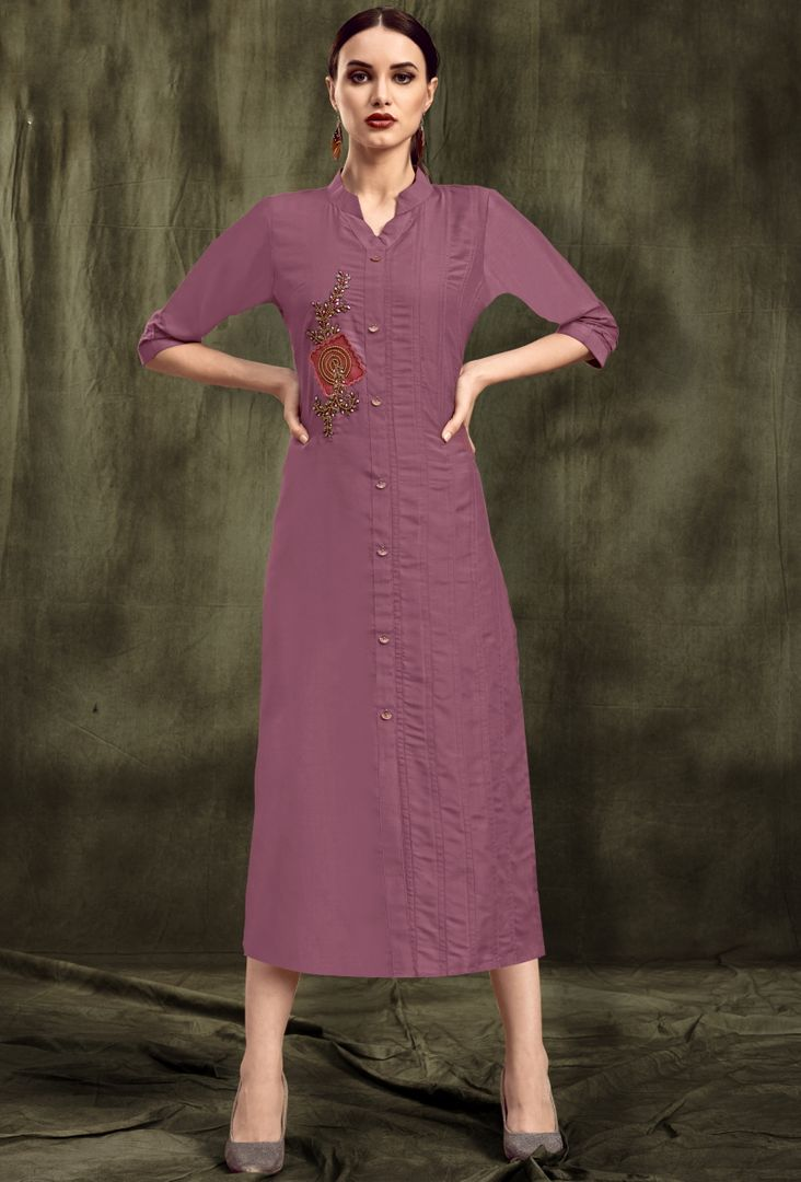 Lavender Color Muslin Trendy Party Wear Kurtis NYF-4878