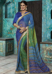 Blue and Green Color Georgette Designer Sarees : Sundrika Collection  YF-43647
