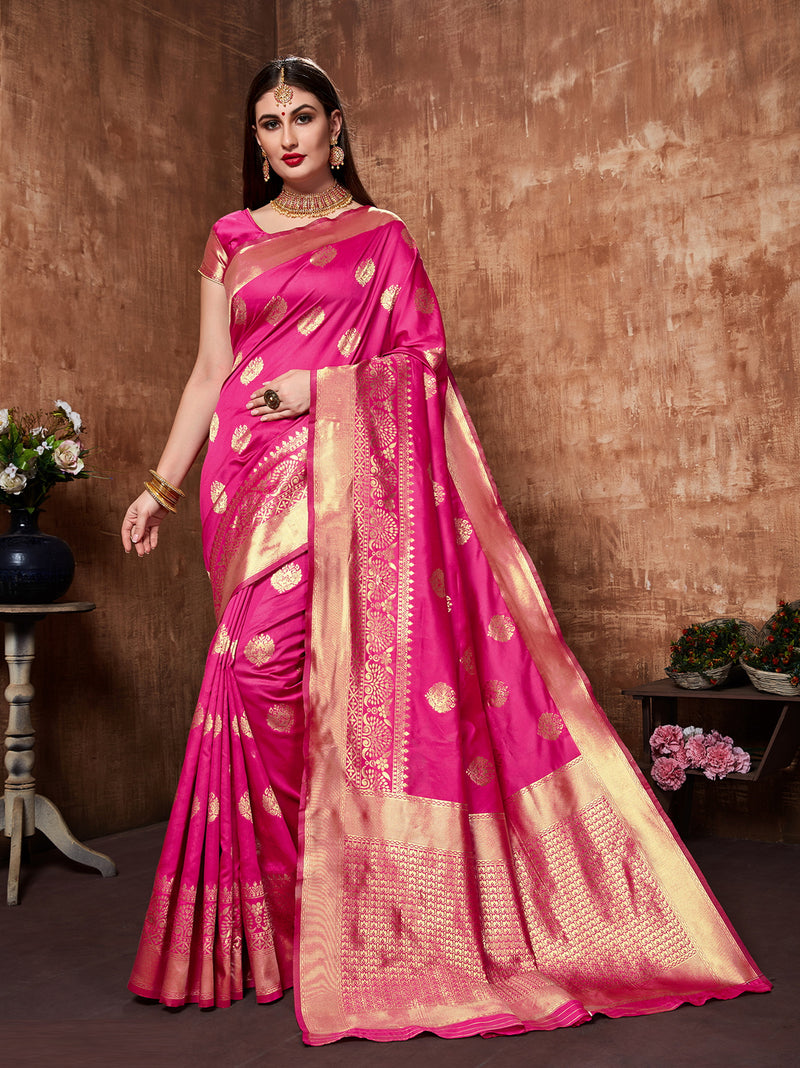 Pink Color Cotton Art Silk Radiant Festive Sarees NYF-6177