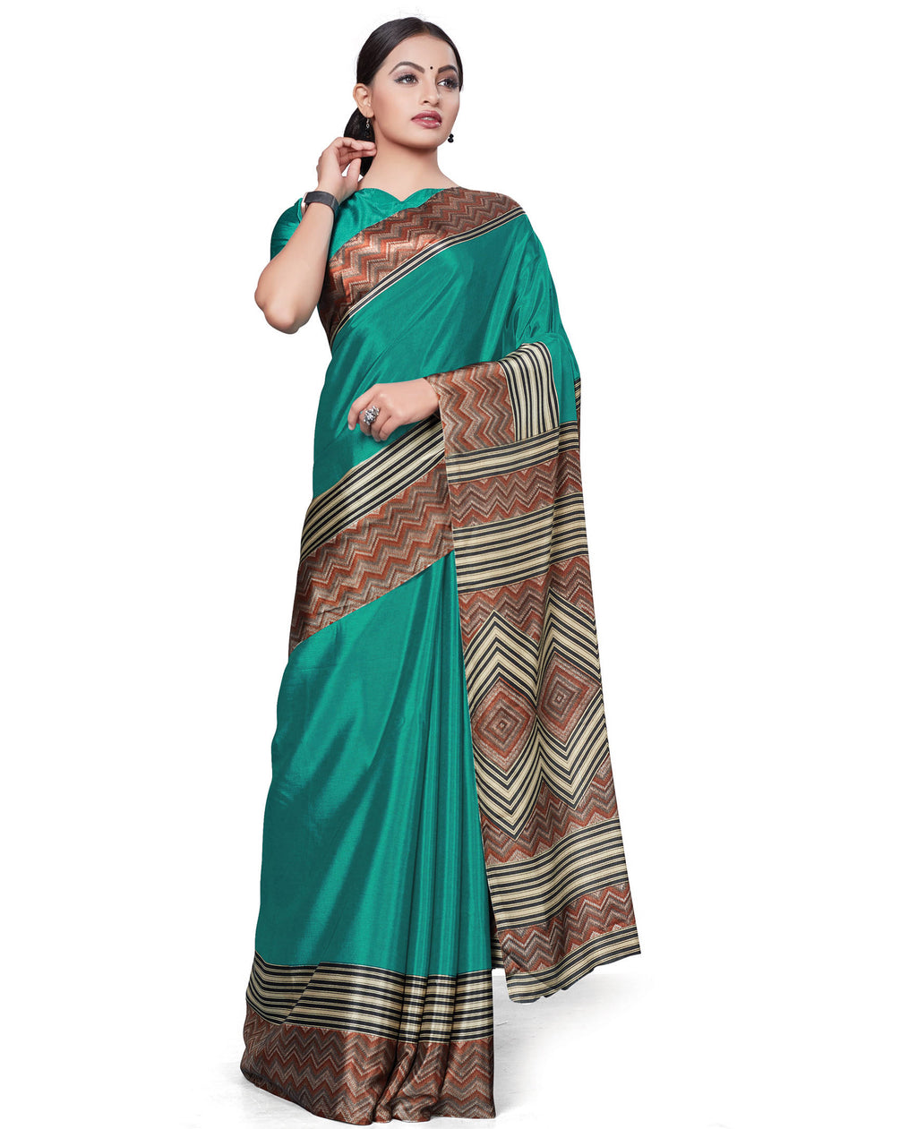 Rama Green Color Italian Crepe Printed Office Wear Sarees NYF-7696