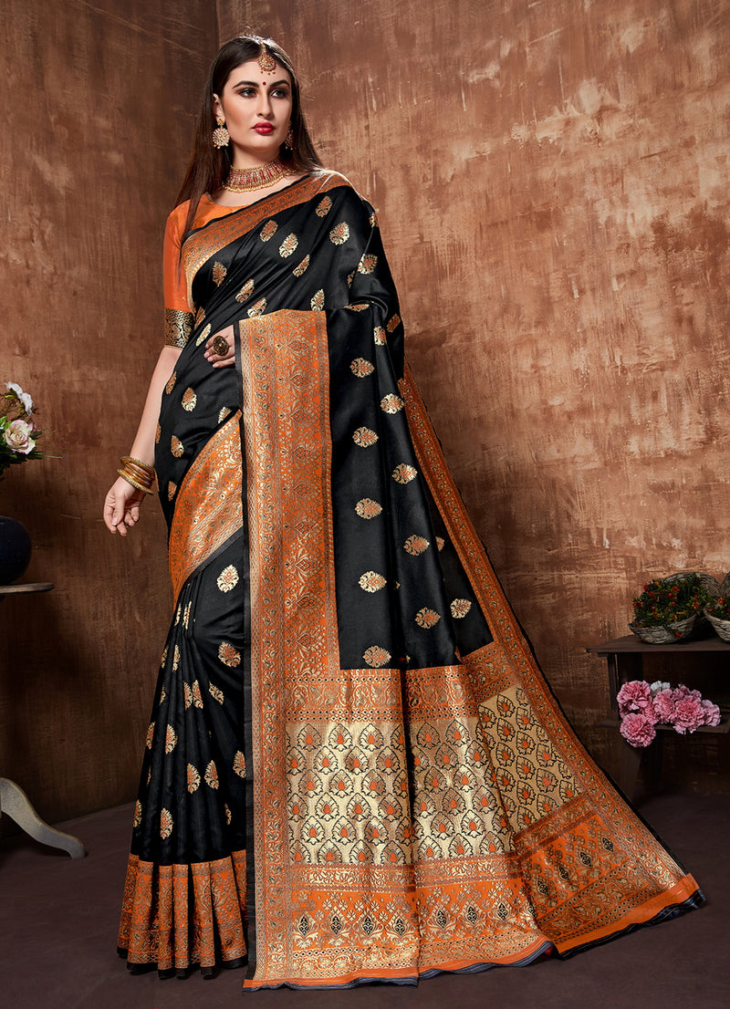 Black Color Cotton Art Silk Radiant Festive Sarees NYF-6178