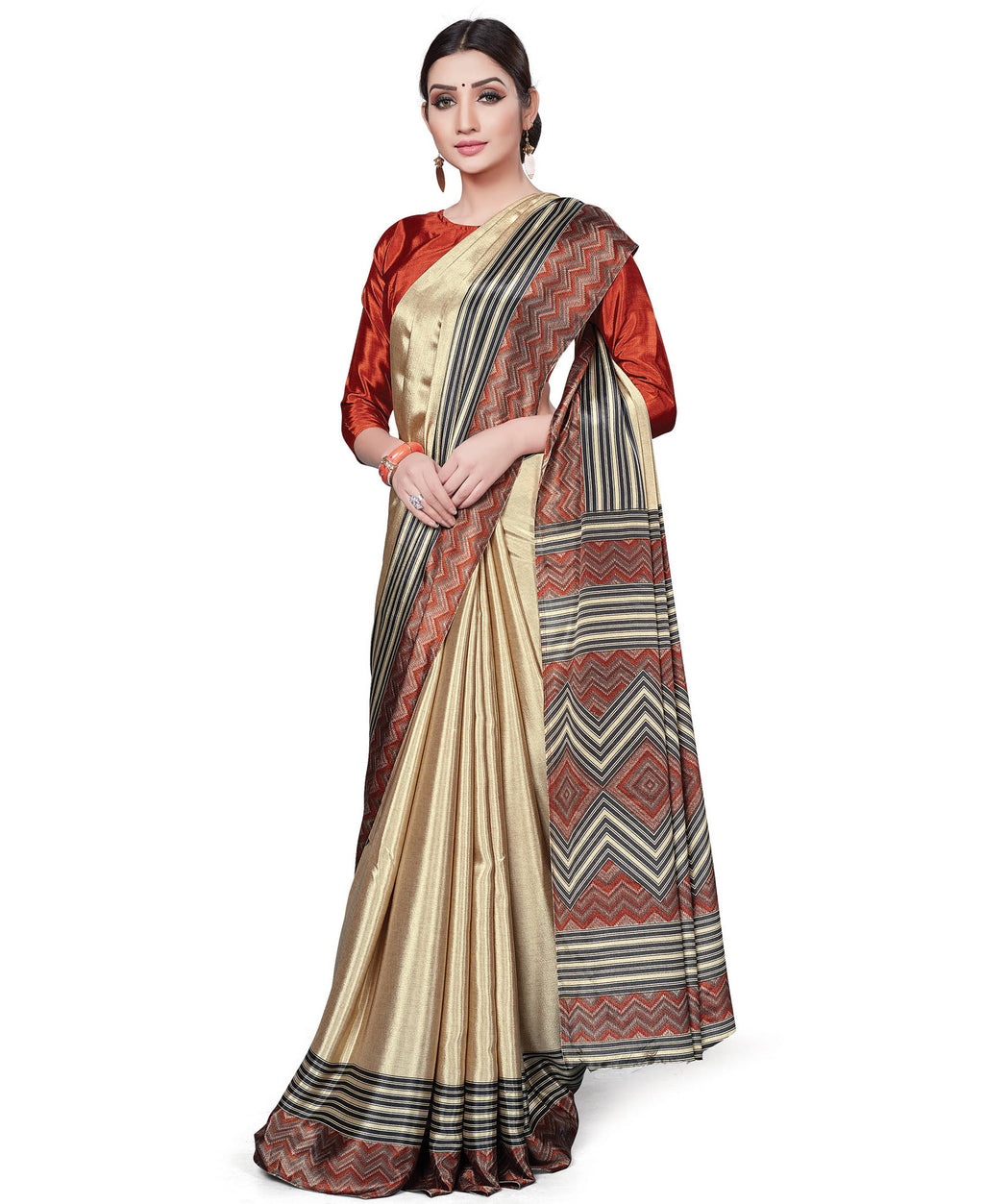 Cream Color Italian Crepe Printed Office Wear Sarees NYF-7697