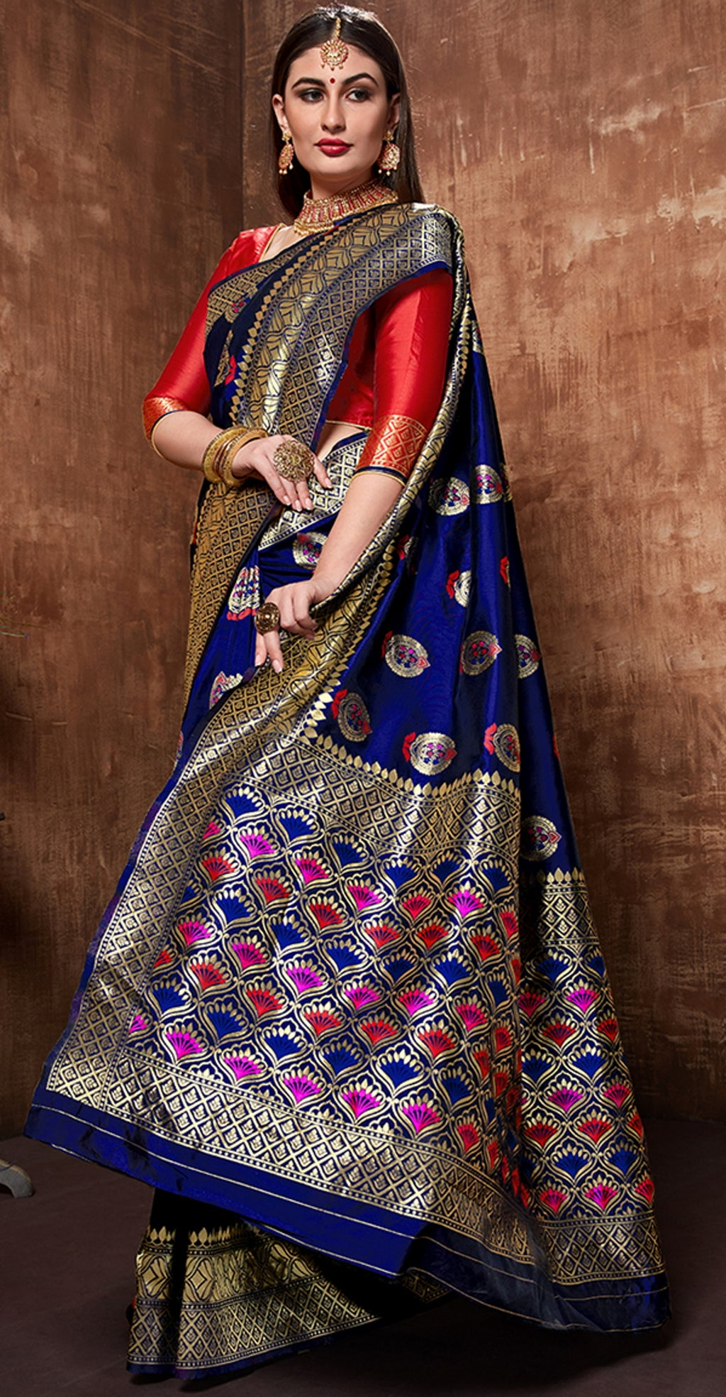 Blue Color Cotton Art Silk Radiant Festive Sarees NYF-6179