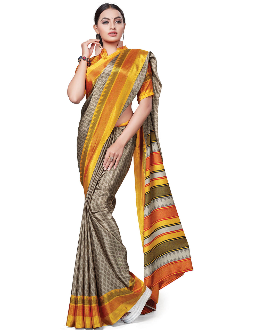 Multi Color Italian Crepe Printed Office Wear Sarees NYF-7698
