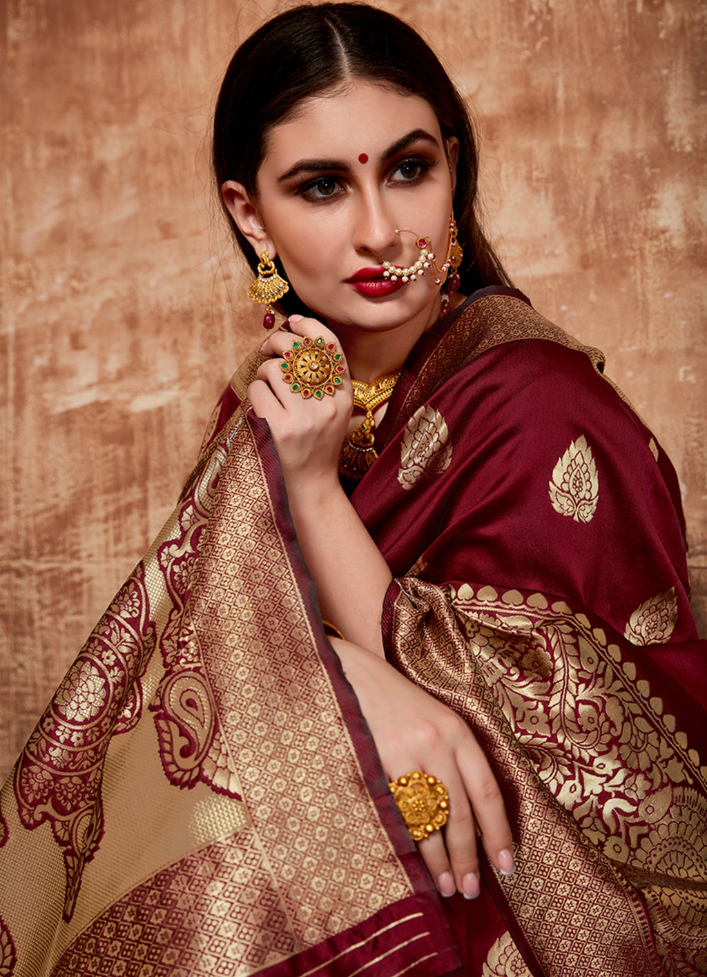 Maroon Color Cotton Art Silk Radiant Festive Sarees NYF-6180