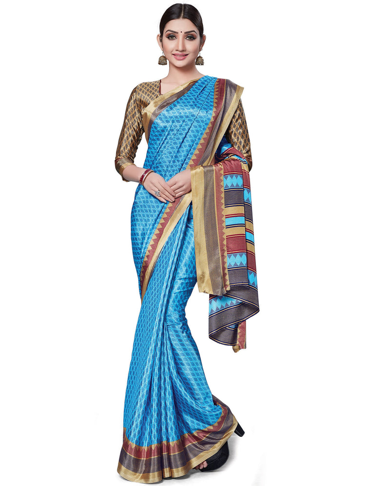 Blue Color Italian Crepe Printed Office Wear Sarees NYF-7699