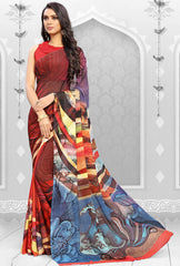 Brown, Pink & orange Color Half Wrinkle Chiffon & Half Georgette Festival & Party Wear Sarees : Ashvita Collection  YF-48720