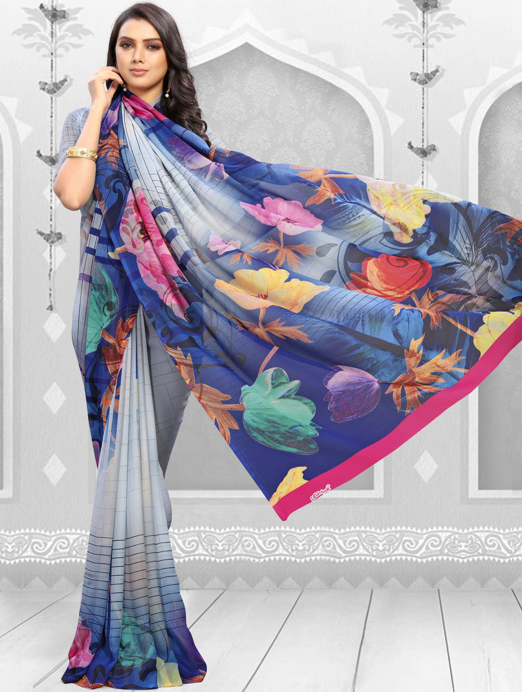Multi Color Georgette Kitty Party Sarees NYF-8853