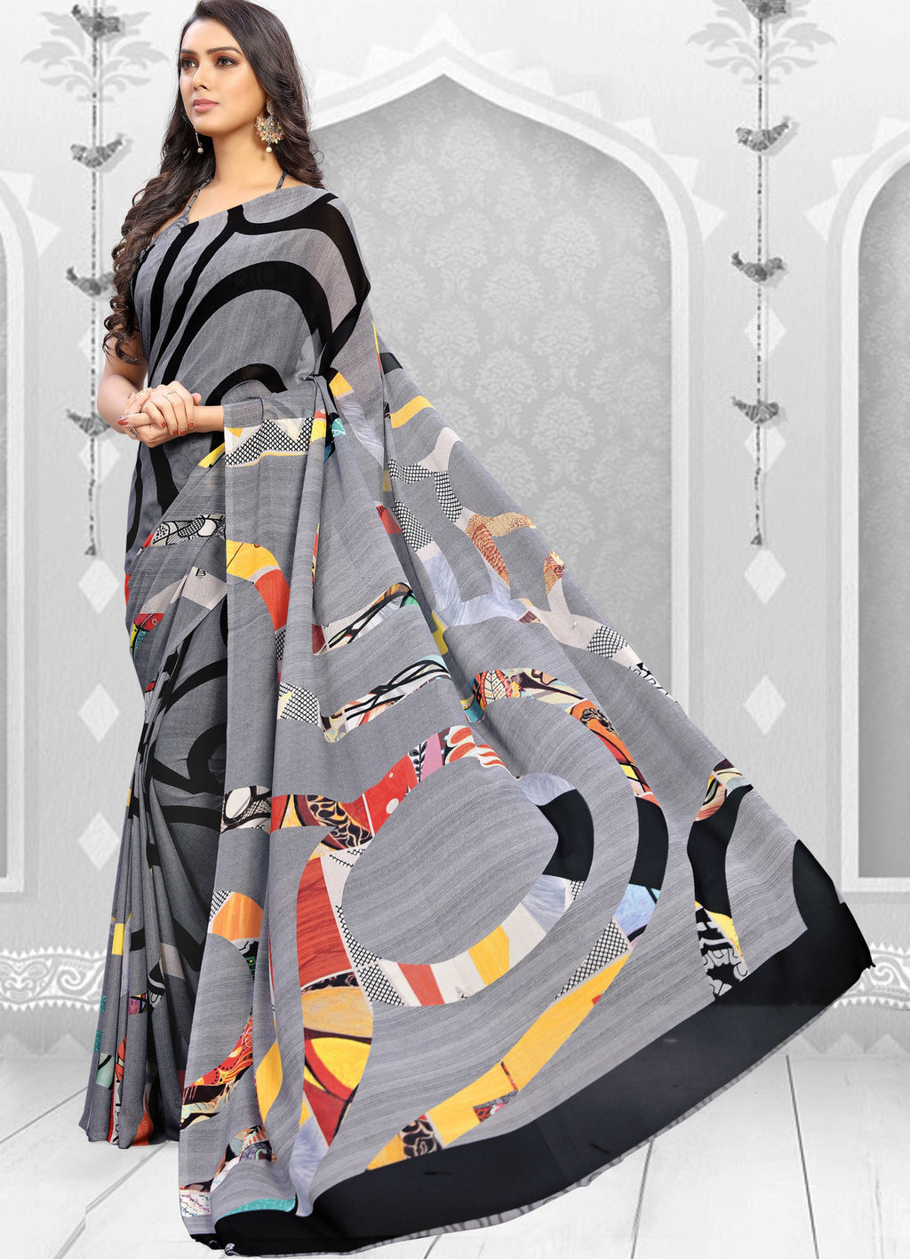 Grey  Color Georgette Kitty Party Sarees NYF-8854