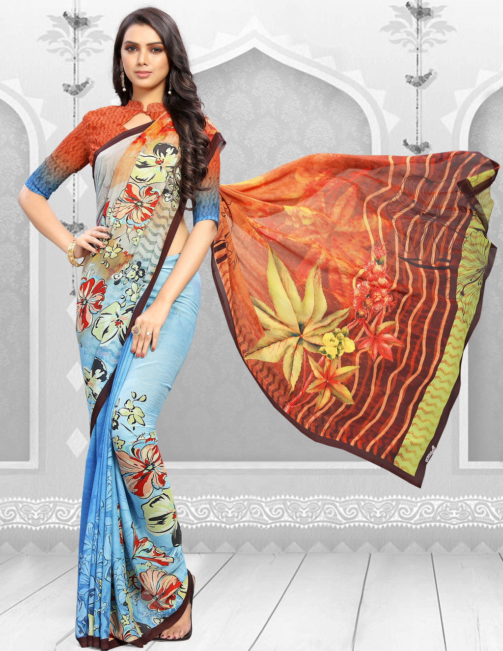 Orange & Blue Color Georgette Kitty Party Sarees NYF-8855