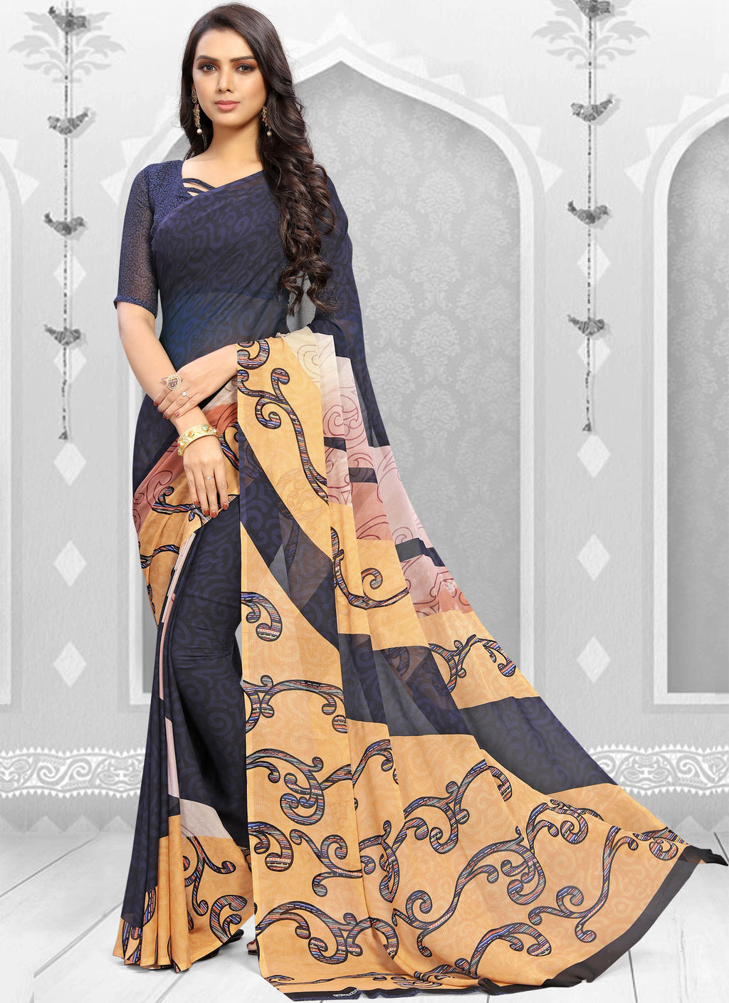 Blue Color Georgette Kitty Party Sarees NYF-8856