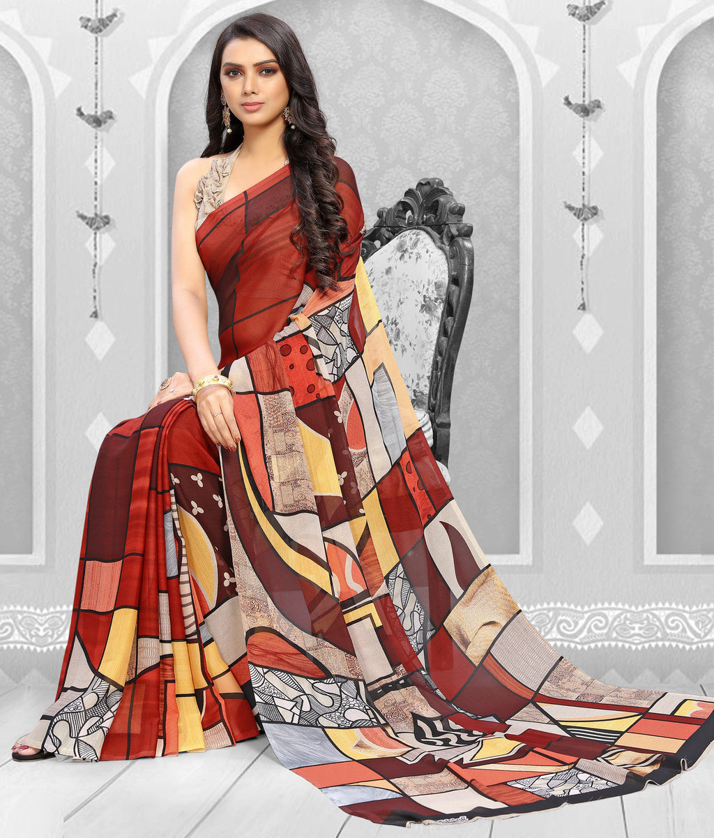 Multi Color Georgette Kitty Party Sarees NYF-8857