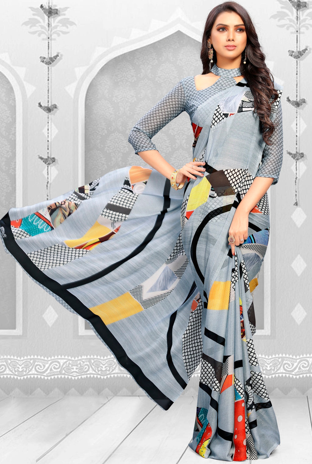 Grey Color Georgette Kitty Party Sarees NYF-8858