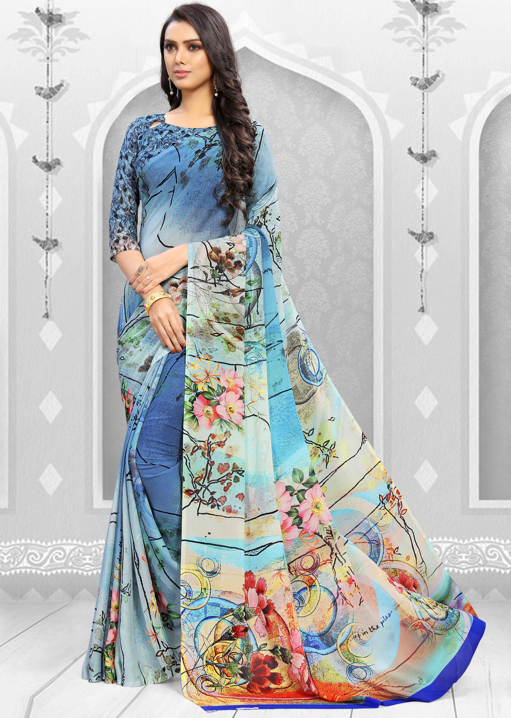 Shades Of Blue Color Georgette Kitty Party Sarees NYF-8859