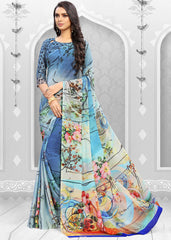 Aqua Green & Aqua Blue Color Half Crepe & Half Net Festival & Party Wear Sarees : Ashvita Collection  YF-48727