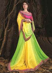 Yellow AndGreen Color Georgette Special Occasion Sarees : Aisha Collection  YF-24907