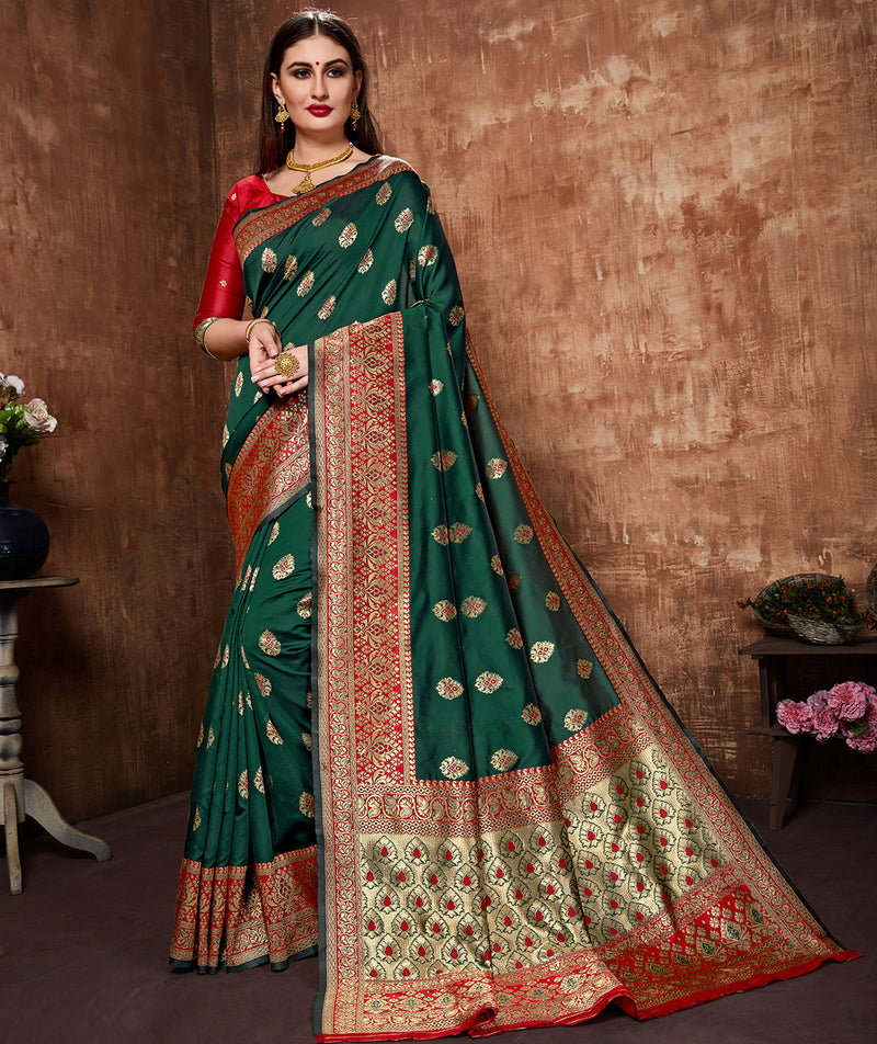 Green Color Cotton Art Silk Radiant Festive Sarees NYF-6181