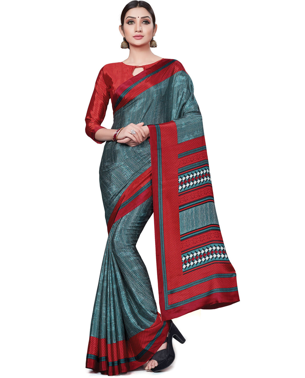 Multi Color Italian Crepe Printed Office Wear Sarees NYF-7700