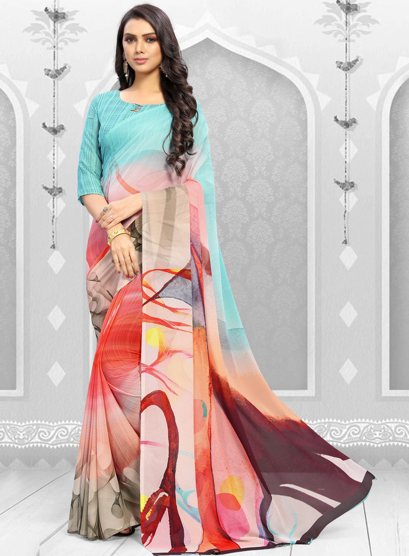 Multi Color Georgette Kitty Party Sarees NYF-8860