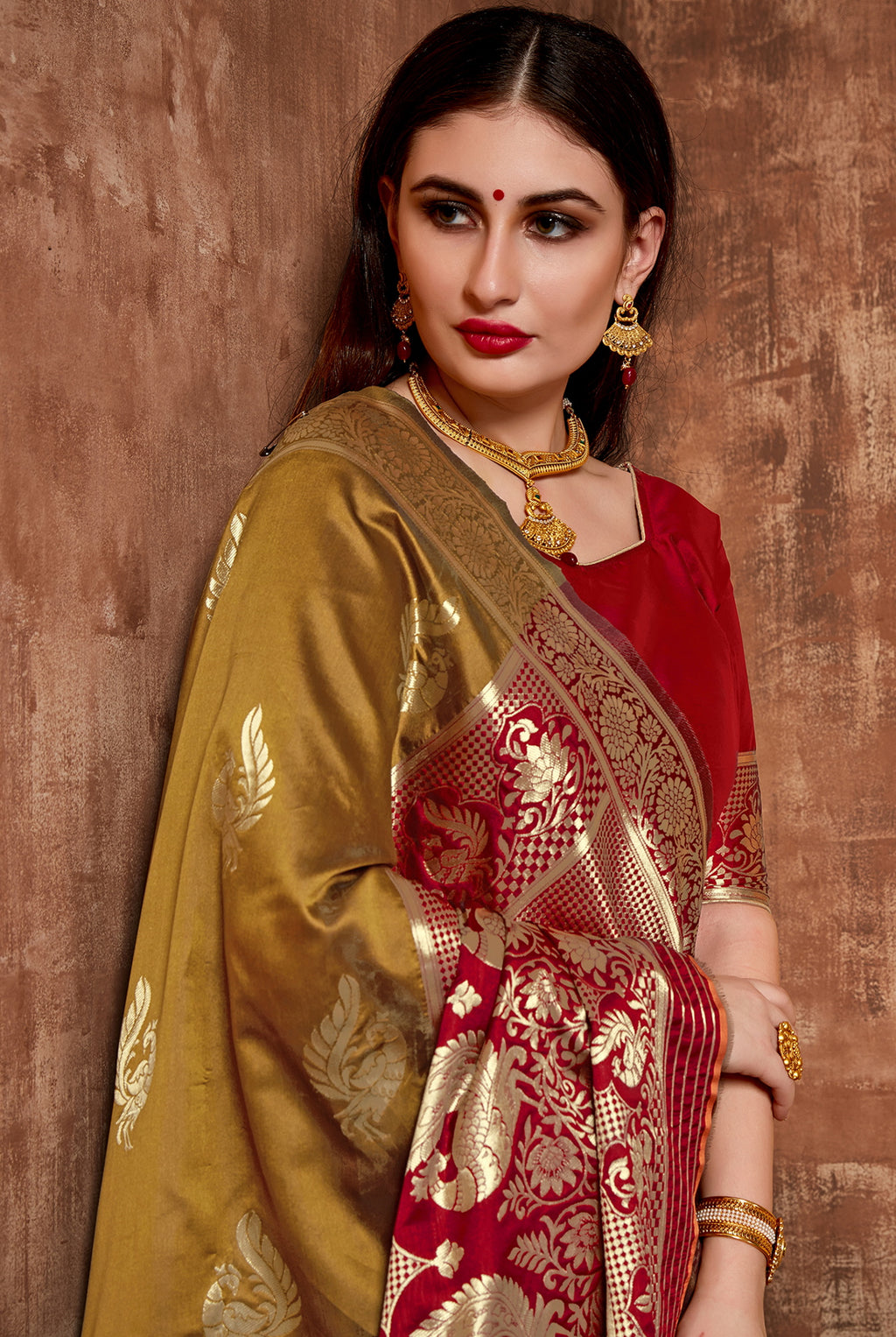 Mustard Yellow Color Cotton Art Silk Radiant Festive Sarees NYF-6182