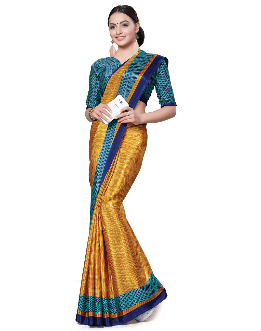 Yellow Color Italian Crepe Printed Office Wear Sarees NYF-7701