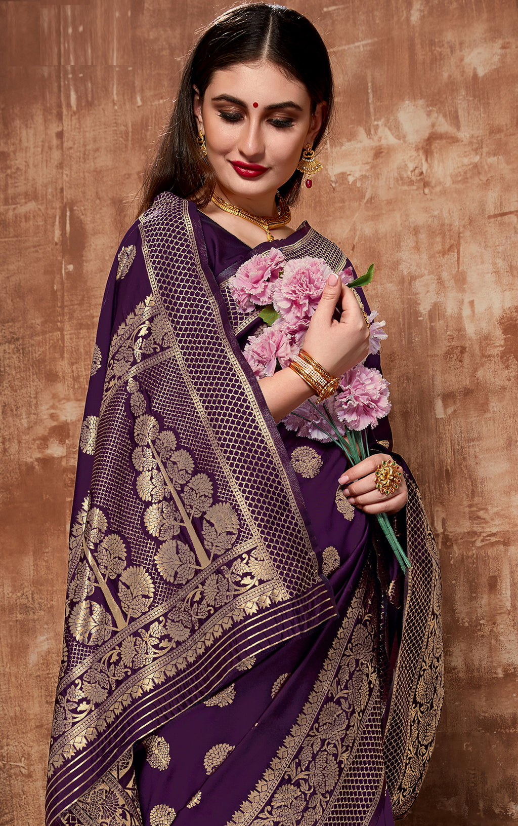 Purple Color Cotton Art Silk Radiant Festive Sarees NYF-6183