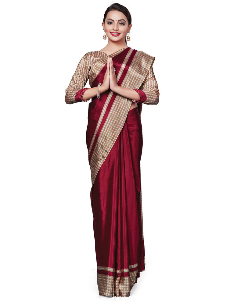 Maroon Color Italian Crepe Printed Office Wear Sarees NYF-7702
