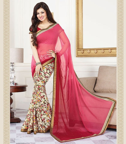Pink & Cream Color Georgette Party Wear Sarees : Navrani Collection  YF-37689