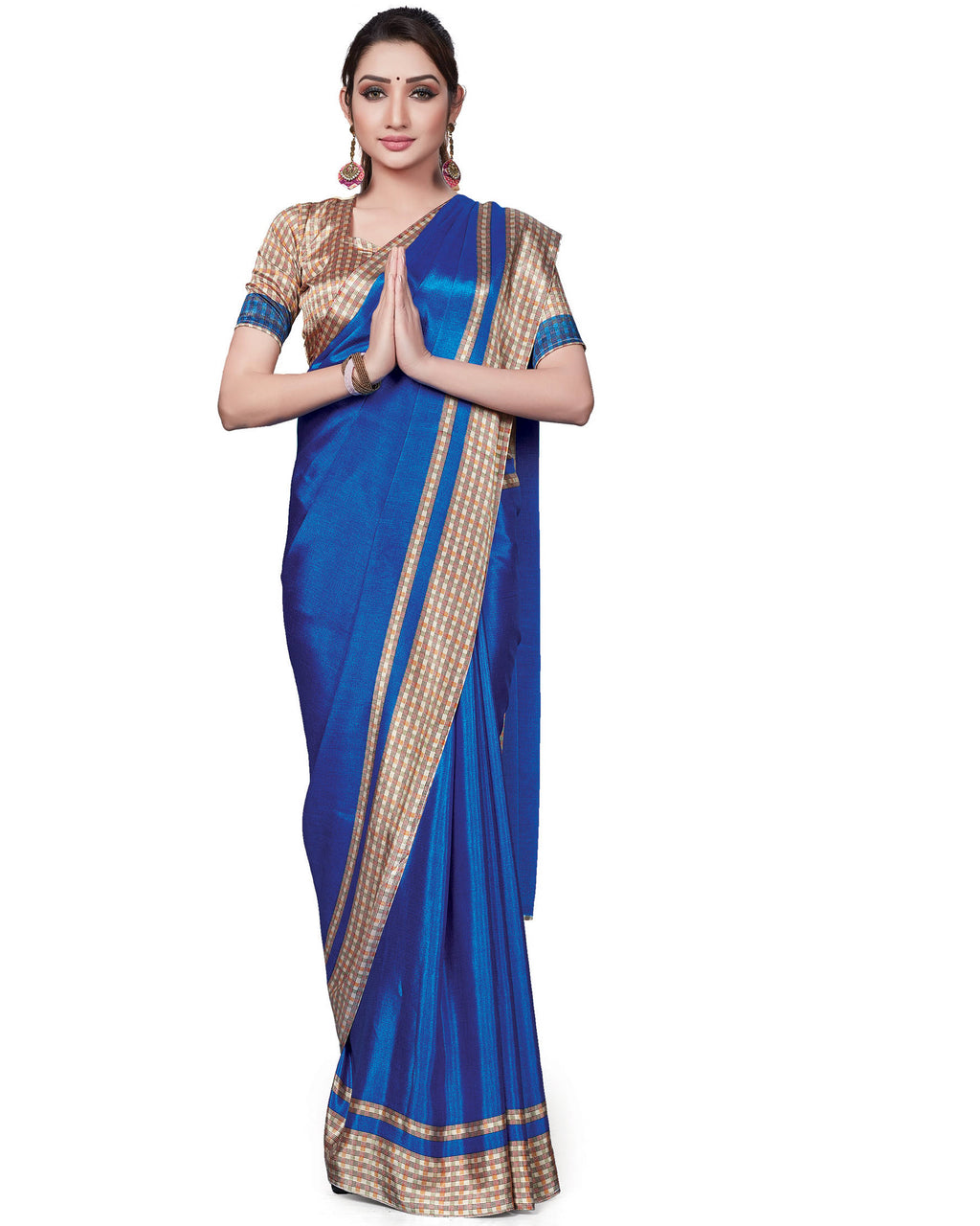 Blue Color Italian Crepe Printed Office Wear Sarees NYF-7703