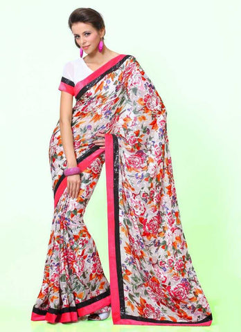 Pink and white  Colour  Brasso  Material Sarees : Italiano Collection -  YF-14915