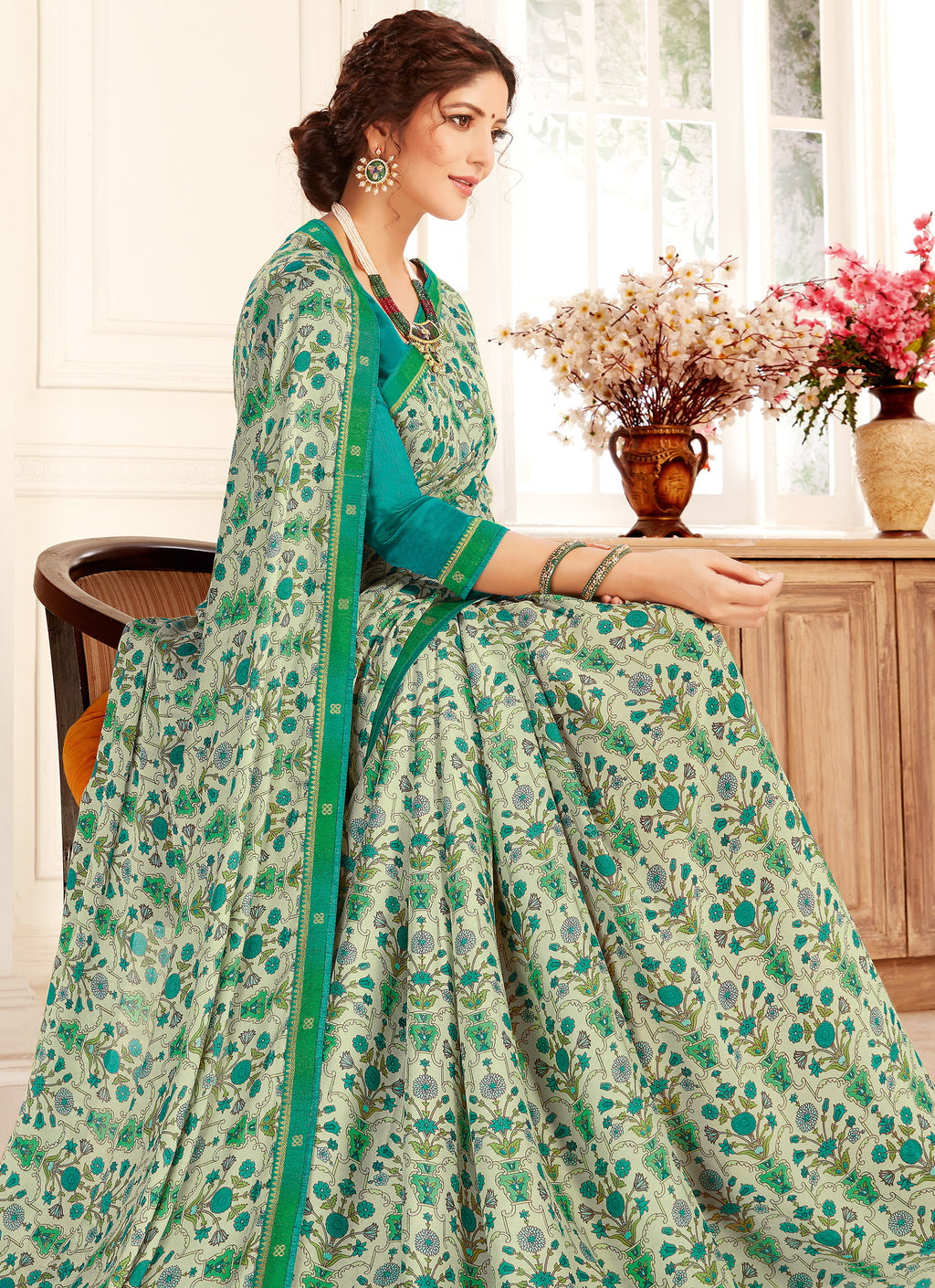 Off White & Green Color Georgette Trendy Casual Party Sarees NYF-6329