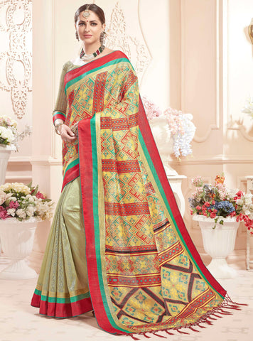 Multi Color Art Silk Designer Digital Print Sarees : Heeba Collection YF-67841
