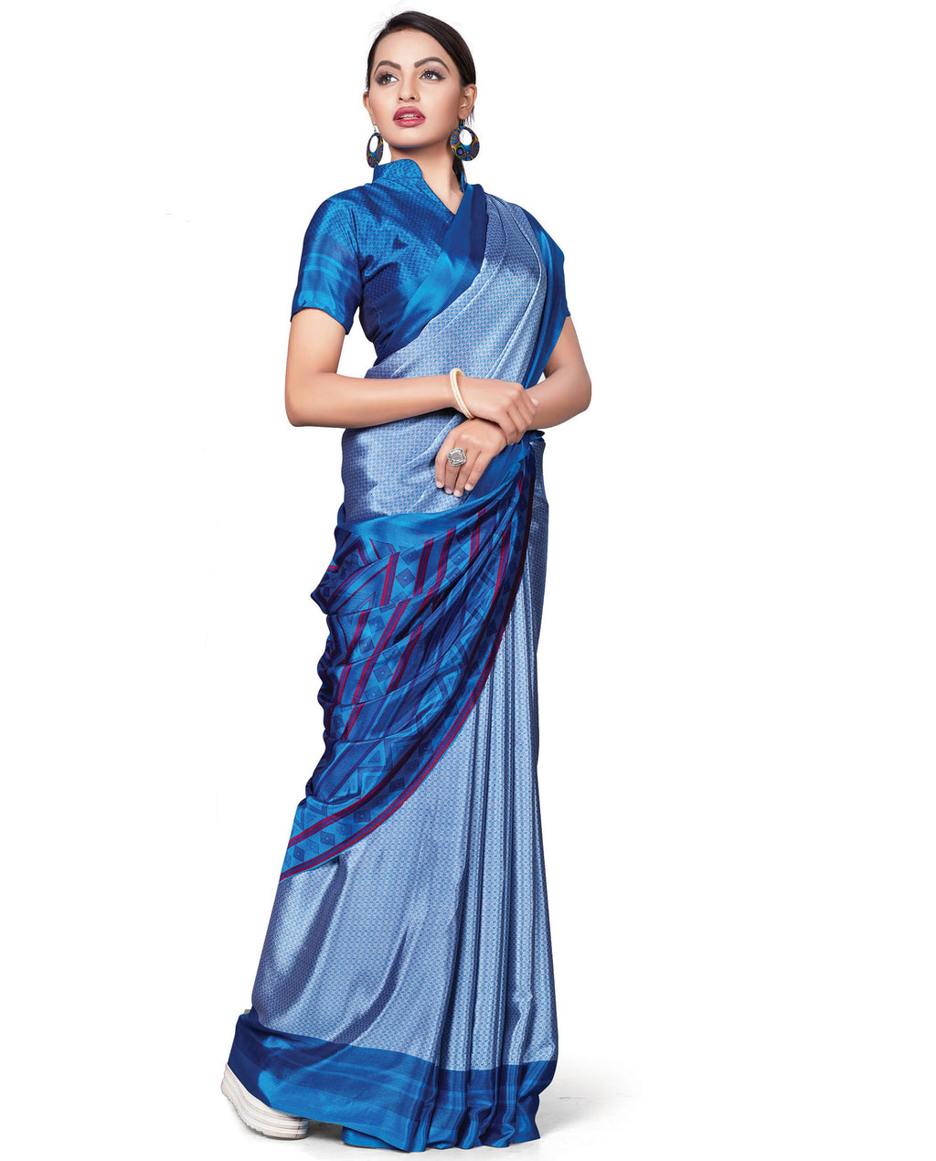 Blue Color Italian Crepe Printed Office Wear Sarees NYF-7705