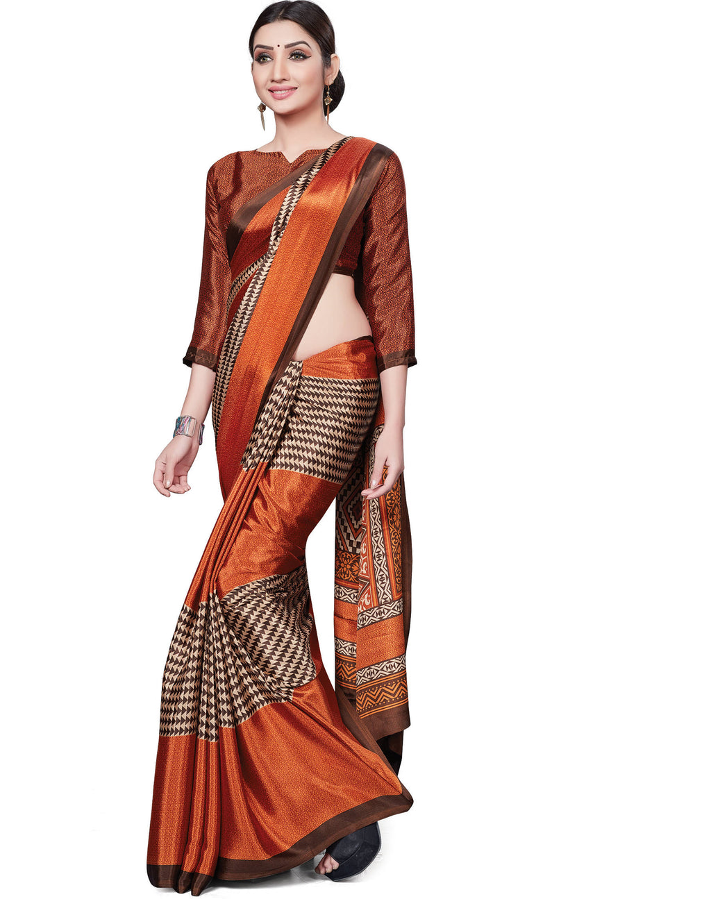 Orange Color Italian Crepe Printed Office Wear Sarees NYF-7706