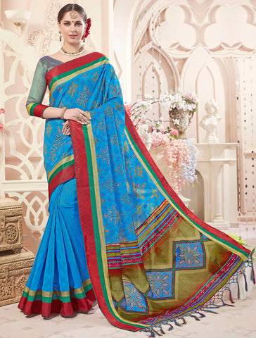 Blue Color Art Silk Designer Digital Print Sarees : Heeba Collection YF-67842